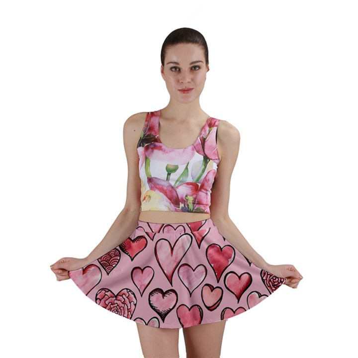 Artistic Valentine Hearts Mini Skirt