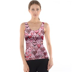 Artistic Valentine Hearts Tank Top