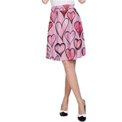 Artistic Valentine Hearts A-Line Skirt