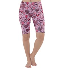 Artistic Valentine Hearts Cropped Leggings