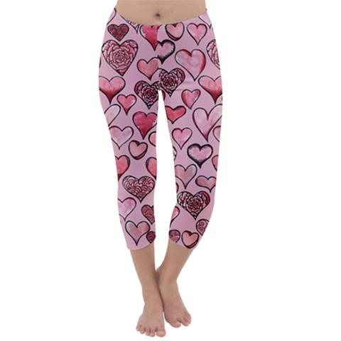 Artistic Valentine Hearts Capri Winter Leggings