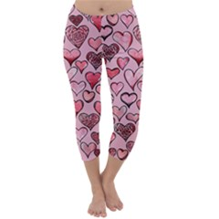 Artistic Valentine Hearts Capri Winter Leggings
