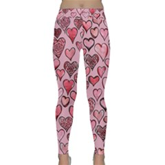 Artistic Valentine Hearts Yoga Leggings