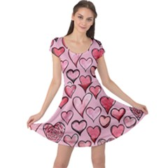 Artistic Valentine Hearts Cap Sleeve Dresses