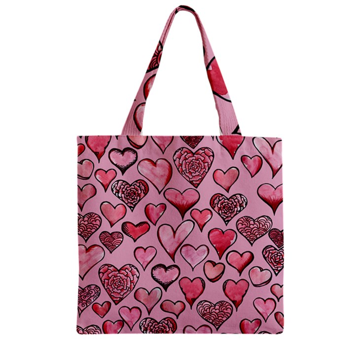 Artistic Valentine Hearts Zipper Grocery Tote Bag
