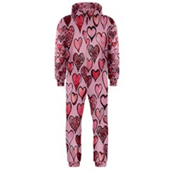 Artistic Valentine Hearts Hooded Jumpsuit (Men)