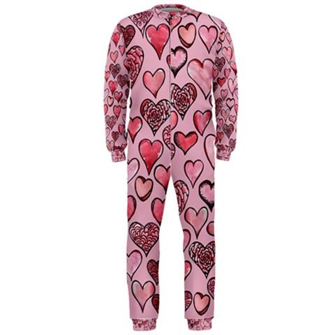 Artistic Valentine Hearts OnePiece Jumpsuit (Men)