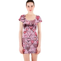 Artistic Valentine Hearts Short Sleeve Bodycon Dress