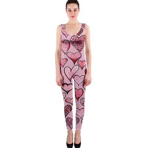 Artistic Valentine Hearts OnePiece Catsuit