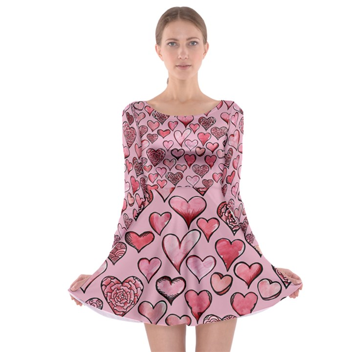 Artistic Valentine Hearts Long Sleeve Skater Dress