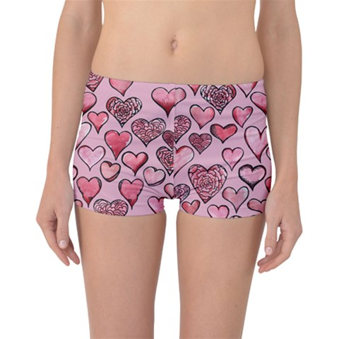 Artistic Valentine Hearts Boyleg Bikini Bottoms