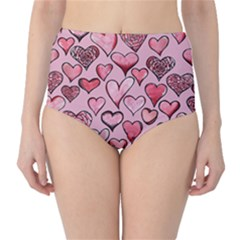 Artistic Valentine Hearts High-Waist Bikini Bottoms