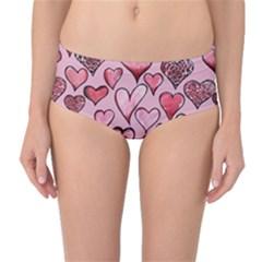 Artistic Valentine Hearts Mid-Waist Bikini Bottoms