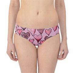 Artistic Valentine Hearts Hipster Bikini Bottoms