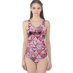 Artistic Valentine Hearts One Piece Swimsuit
