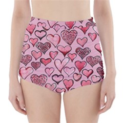 Artistic Valentine Hearts High-Waisted Bikini Bottoms