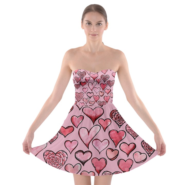 Artistic Valentine Hearts Strapless Bra Top Dress