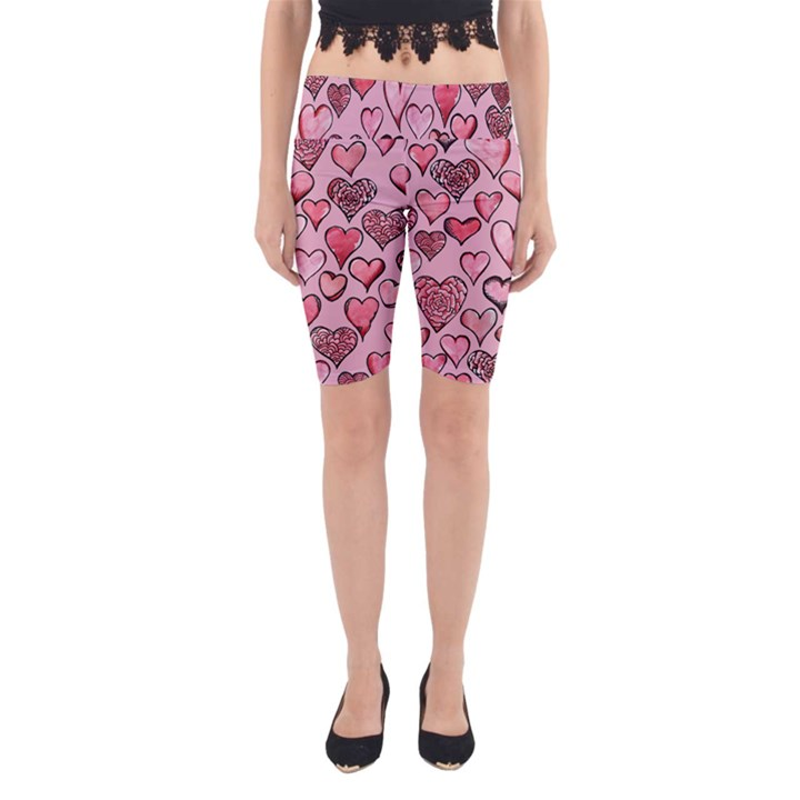 Artistic Valentine Hearts Yoga Cropped Leggings