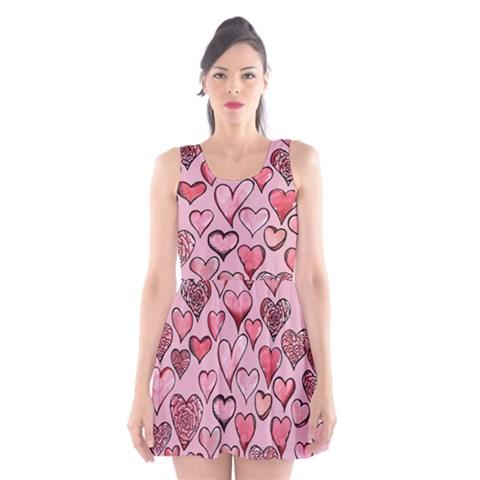 Artistic Valentine Hearts Scoop Neck Skater Dress