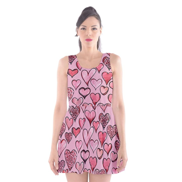 Artistic Valentine Hearts Scoop Neck Skater Dress