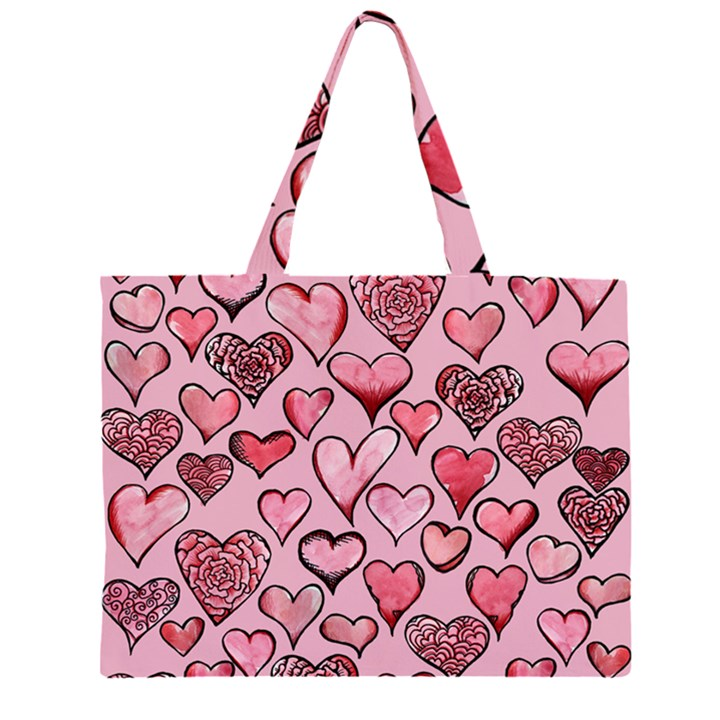 Artistic Valentine Hearts Large Tote Bag