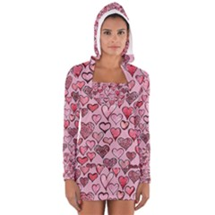 Artistic Valentine Hearts Women s Long Sleeve Hooded T Shirt