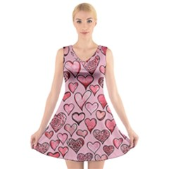 Artistic Valentine Hearts V Neck Sleeveless Skater Dress