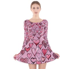Artistic Valentine Hearts Long Sleeve Velvet Skater Dress