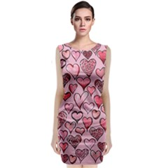 Artistic Valentine Hearts Classic Sleeveless Midi Dress