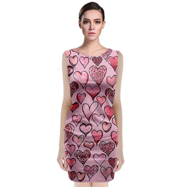 Artistic Valentine Hearts Classic Sleeveless Midi Dress