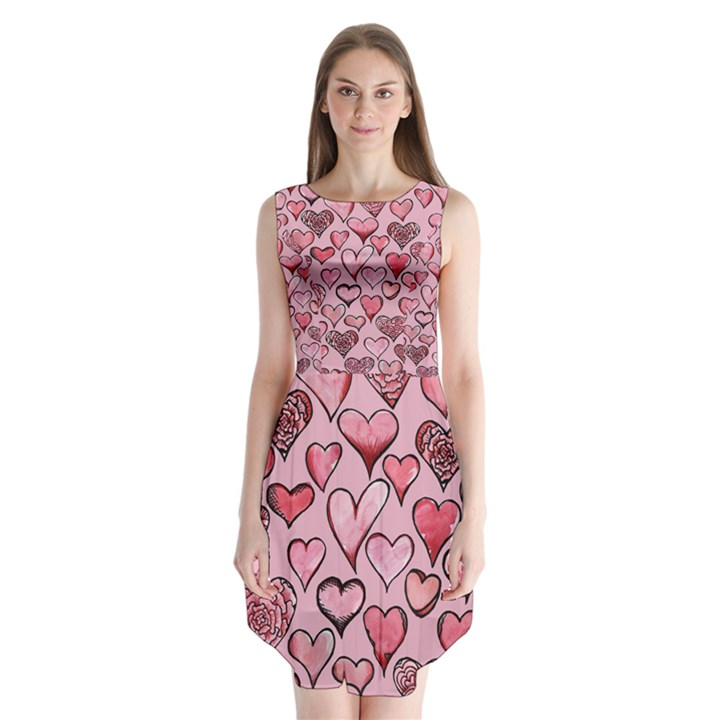 Artistic Valentine Hearts Sleeveless Chiffon Dress