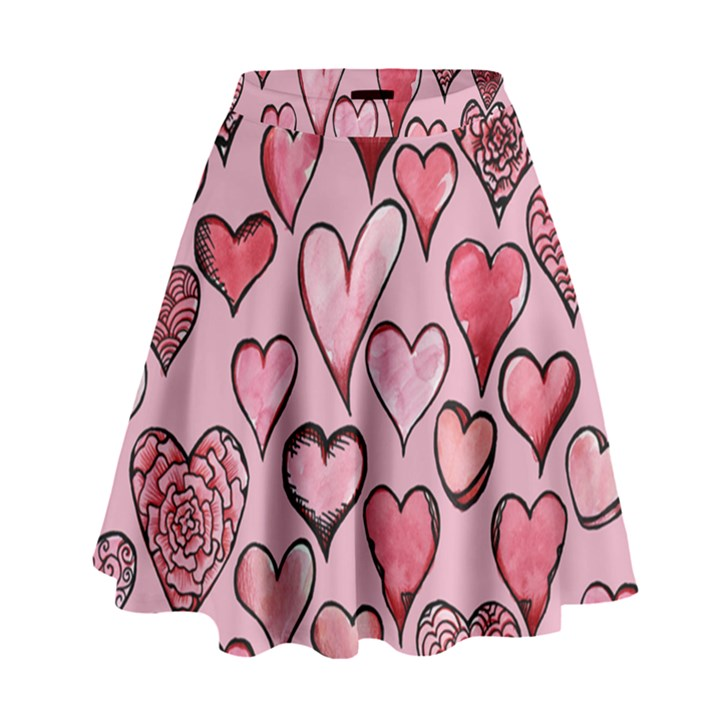 Artistic Valentine Hearts High Waist Skirt