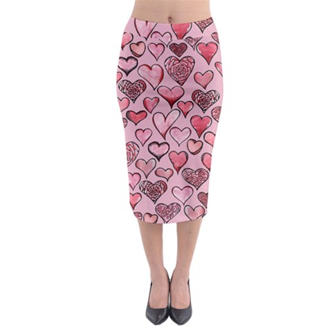 Artistic Valentine Hearts Midi Pencil Skirt