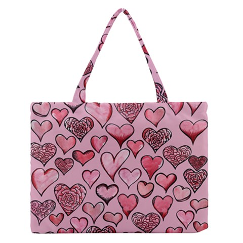 Artistic Valentine Hearts Medium Zipper Tote Bag