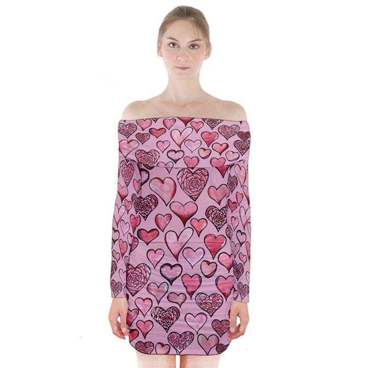 Artistic Valentine Hearts Long Sleeve Off Shoulder Dress