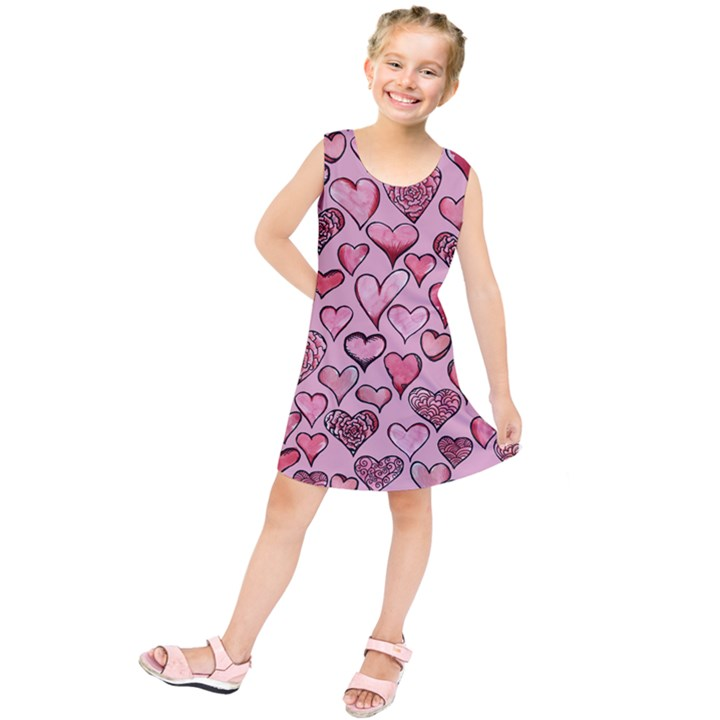Artistic Valentine Hearts Kids  Tunic Dress