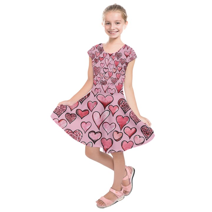 Artistic Valentine Hearts Kids  Short Sleeve Dress