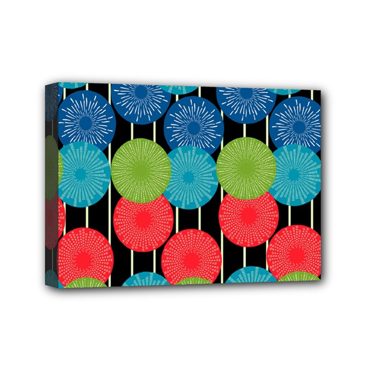 Vibrant Retro Pattern Mini Canvas 7  x 5