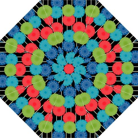 Vibrant Retro Pattern Straight Umbrellas