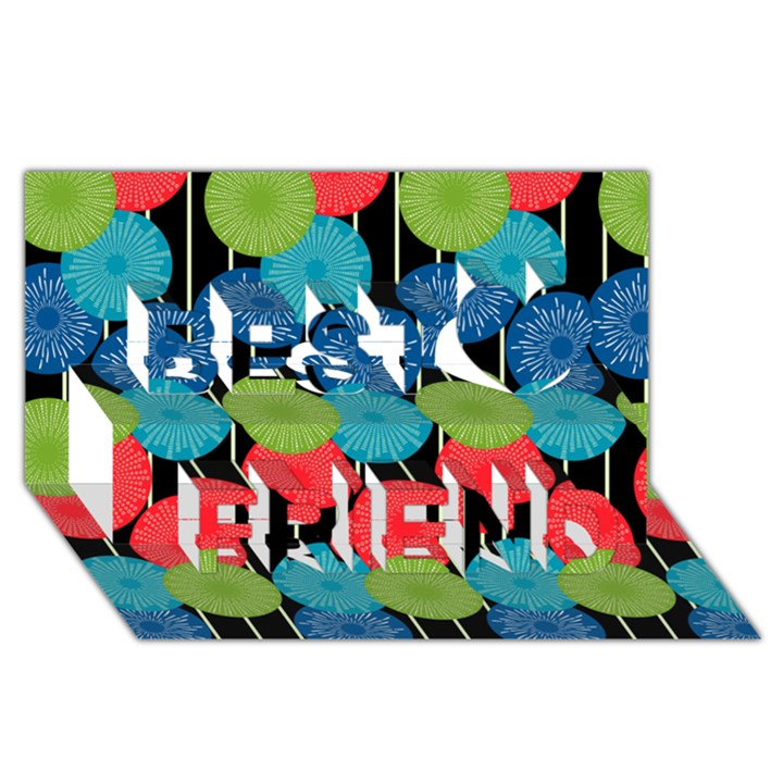 Vibrant Retro Pattern Best Friends 3D Greeting Card (8x4)