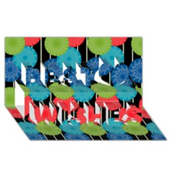 Vibrant Retro Pattern Best Wish 3d Greeting Card (8x4)