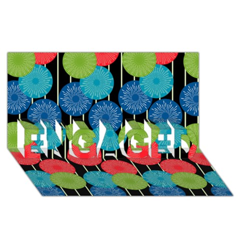Vibrant Retro Pattern ENGAGED 3D Greeting Card (8x4)