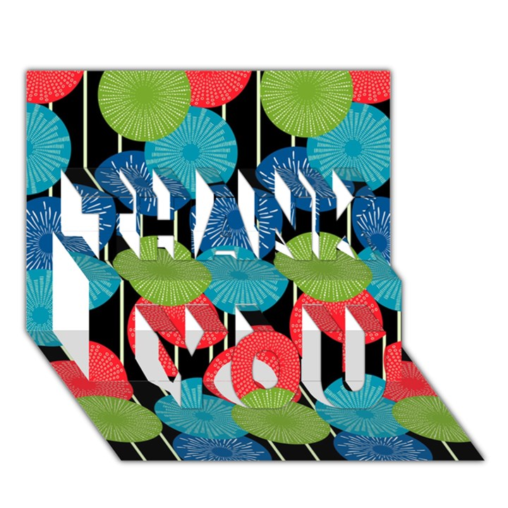 Vibrant Retro Pattern THANK YOU 3D Greeting Card (7x5)