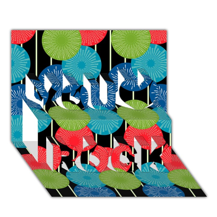 Vibrant Retro Pattern You Rock 3D Greeting Card (7x5)