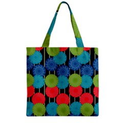 Vibrant Retro Pattern Grocery Tote Bag
