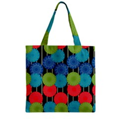 Vibrant Retro Pattern Zipper Grocery Tote Bag