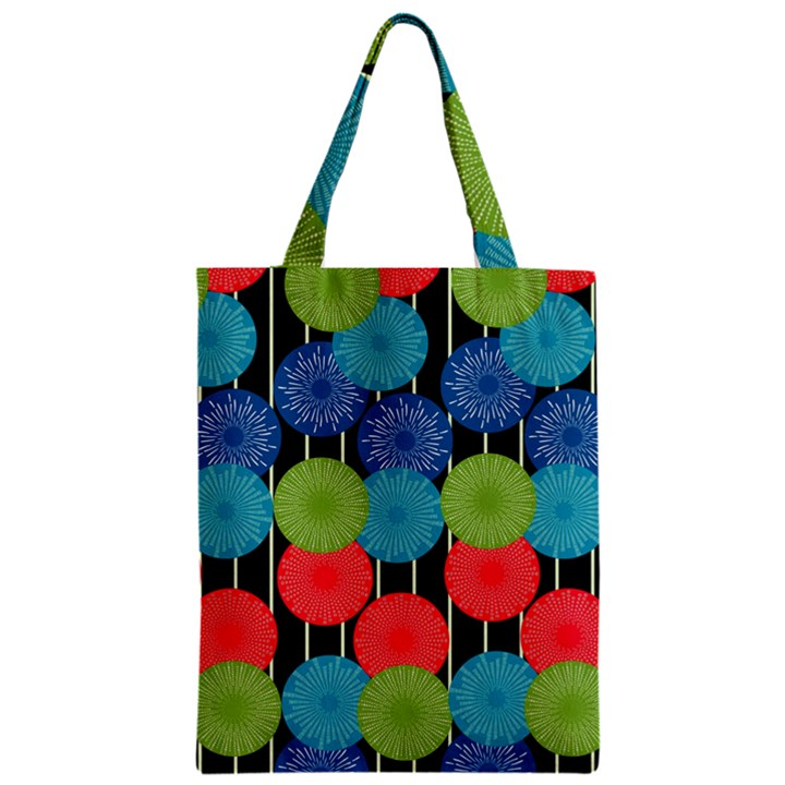 Vibrant Retro Pattern Zipper Classic Tote Bag