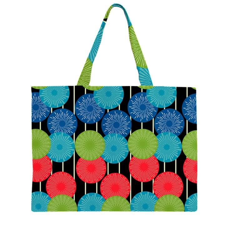 Vibrant Retro Pattern Large Tote Bag
