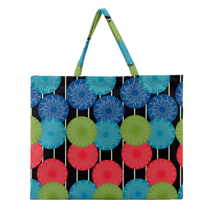 Vibrant Retro Pattern Zipper Large Tote Bag