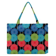 Vibrant Retro Pattern Medium Zipper Tote Bag